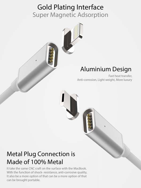 MagSix Magnetic Charging Cable Works with Lightning and microUSB Devices