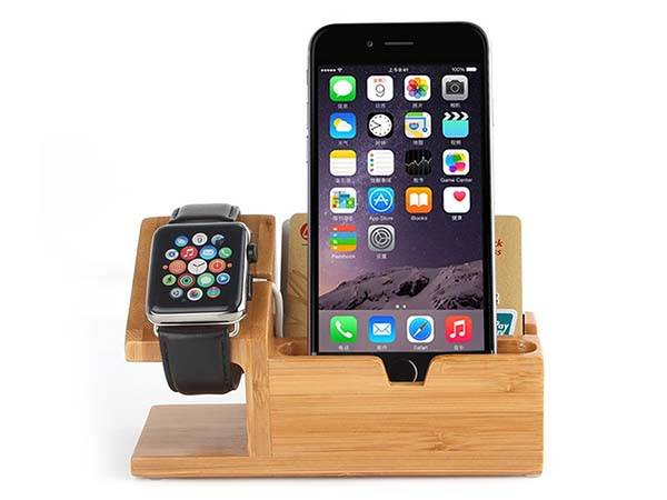 The Bamboo Charging Station with Apple Watch Charger and USB Hub