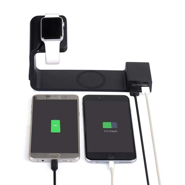 Tupelo Charging Station with Wireless Charging Pad, Apple Watch Stand and USB-C Ports