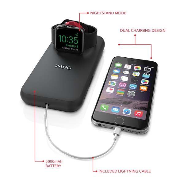 ZAGG Mobile Charging Station with Apple Watch Charger and 5000mAh Power Bank