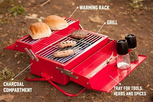Barbecue Toolbox with Integrated BBQ Grill, Warming Rack and Storage Tray