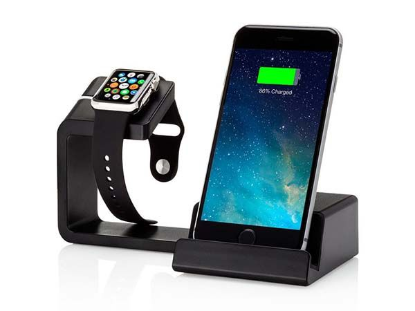 Element 2-In-1 Dual Charging Station with 2 USB Ports for Apple Watch and iPhone