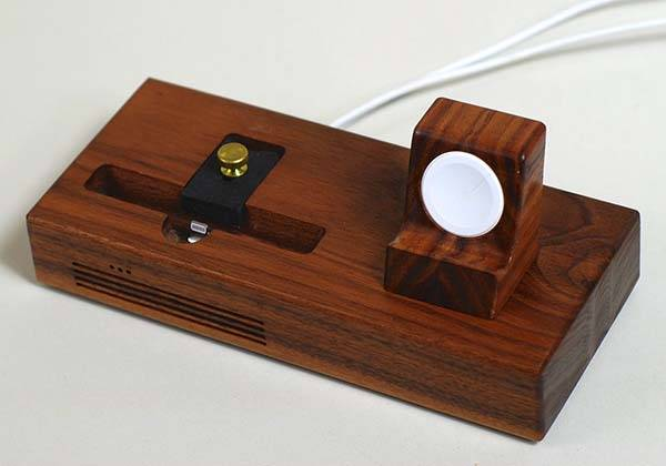 Handmade Wooden Docking Station for iPhone and Apple Watch