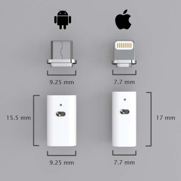 MuConnect Connector Adds Fast, Safe and Magnetic Charging to Your Existing MicroUSB or Lightning ...