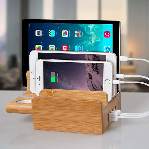 Bamboo Charging Station with Integrated Apple Watch Stand