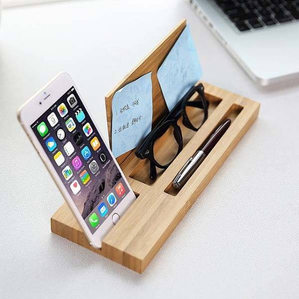 The Phone Holder Integrated Bamboo Desk Organizer