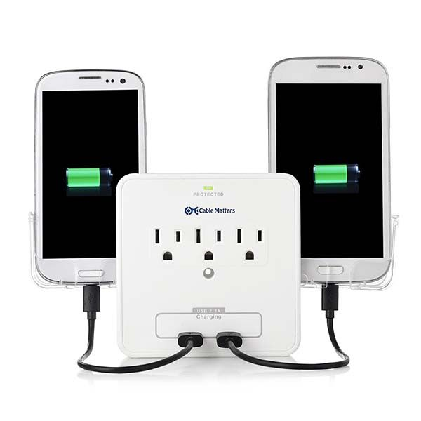 Cable Matters Wall Mount Surge Protector with Phone Holders and USB Ports