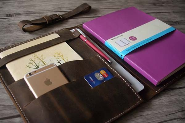 Handmade Leather iPad Pro Case Holds iPhone, Apple Pencil, Notebook and More