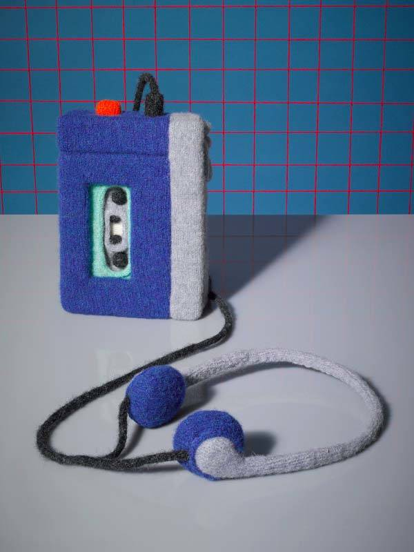 Knitted Macintosh 128k, Cellphone, Walkman, Sneakers and Foods Created by Jessica Dance