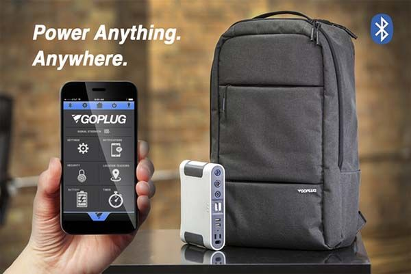 GoPlug Backpack with Bluetooth Power Bank, Location Tracker and Timer