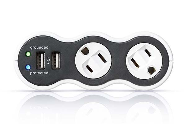 Power Curve Mobile Surge Protector with Rotating Outlets and USB Ports