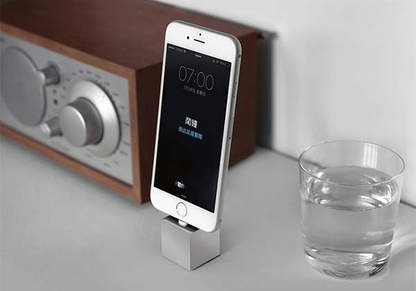 The Q Minimal iPhone Dock Made from Brass, Stainless Steel or Copper