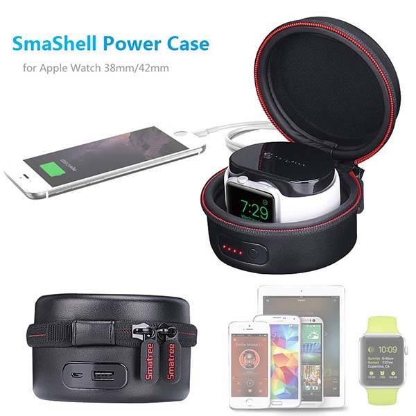 SmaShell A100 Apple Watch Travel Case with Built-in 3000mAh Power Bank