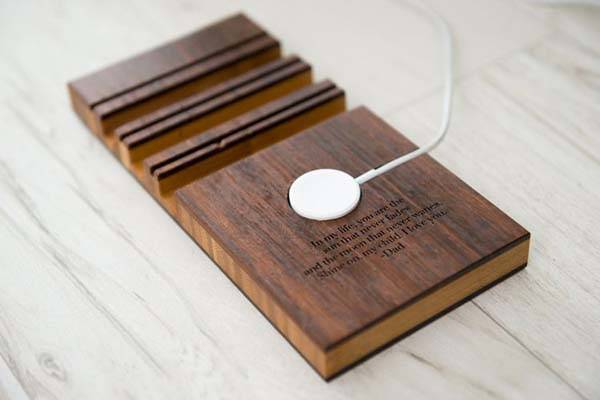 Boyfriend Personalized Wooden Docking Station for Apple Watch, iPhone and iPad