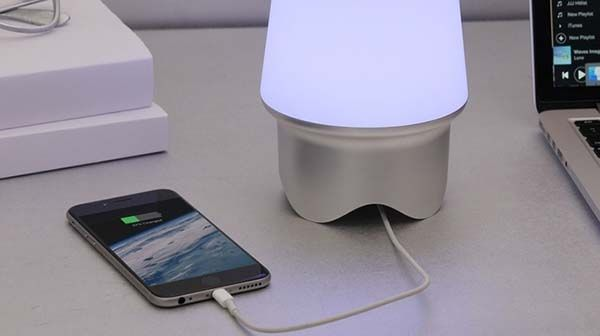 Geni Smart Beacon with Bluetooth Speaker, LED Lamp and Charging Station