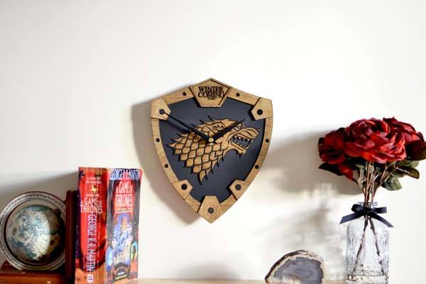 Handmade Game of Thrones House Stark Wooden Wall Clock