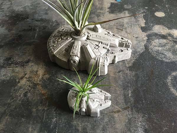 Handmade Star War Millennium Falcon Concrete Planter