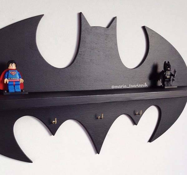 Handmade Batman Wooden Wall Shelf