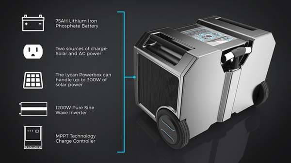 Lycan Powerbox Portable Solar Power Generator with Interchangeable Battery for Camping Road Trips