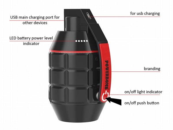 Powerbomb Hand Grenade Shaped Portable Power Bank