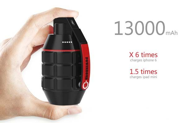 Powerbomb Portable Power Bank Looks Like A Hand Grenade