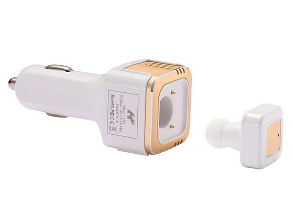 3-In-1 USB Car Charger with Bluetooth Headset and Air Purifier