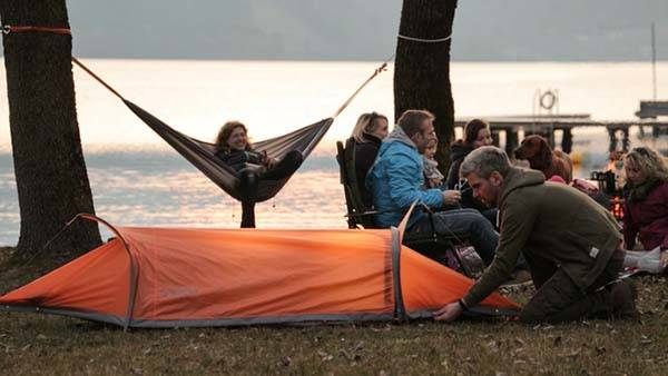 The 4-In-One Flying Tent Also Works as Hammock and Rain Poncho