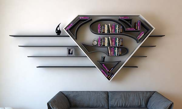 The Concept Bookshelf Inspired by Superman's Logo | Gadgetsin
