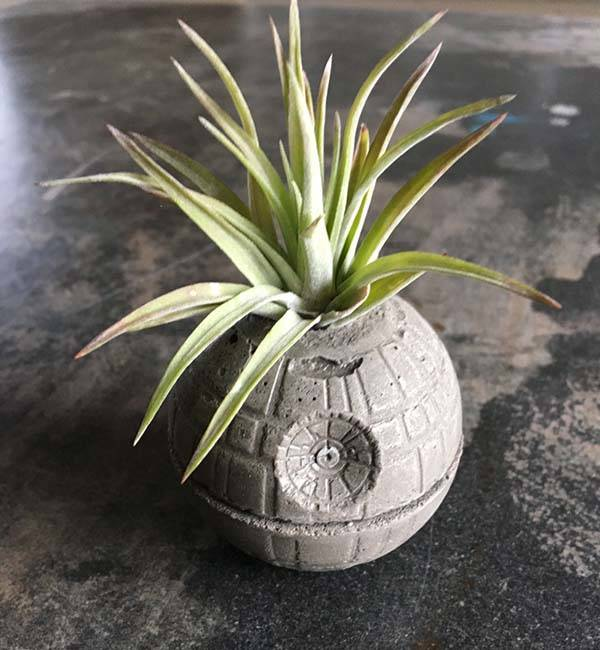 Handmade Star Wars Death Star Concrete Planter