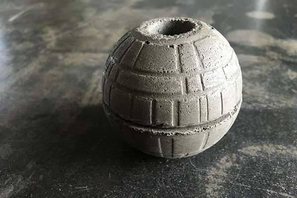 Handmade Star Wars Death Star Concrete Planter