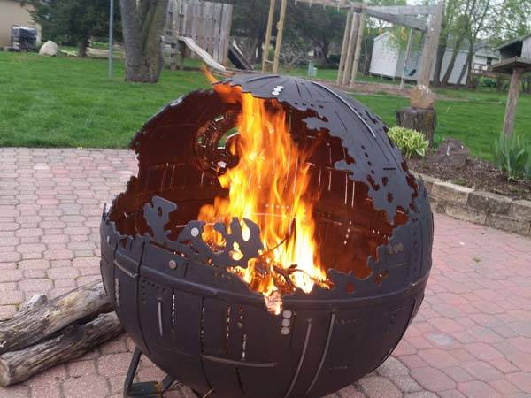 awesome star wars death star steel fire pit