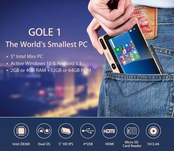 Gole1 Affordable Windows 10 Mini PC with 5-Inch Multi-Touch Display