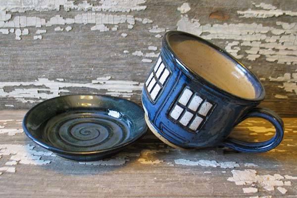 Handmade Doctor Who TARDIS Tea Cup with a Saucer