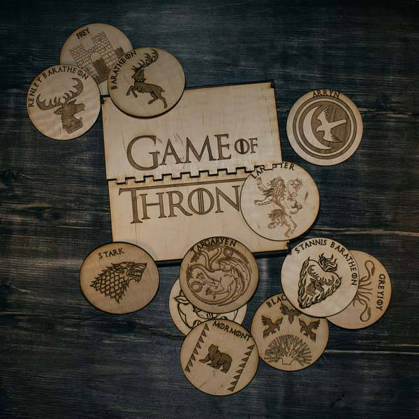 handmade game of thrones wooden coasters in gift box