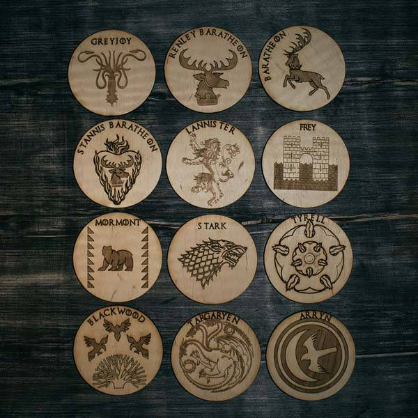 Handmade Game of Thrones Wooden Coasters with a Gift Box