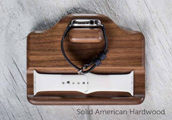Timber Nightstand Apple Watch Charging Stand
