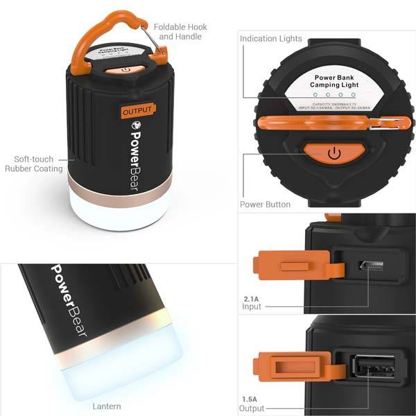 PowerBear Waterproof Camping Lantern with Power Bank