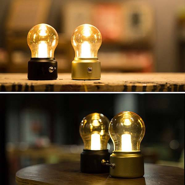 retro bulb shaped usb led lamp gadgetsin. Black Bedroom Furniture Sets. Home Design Ideas