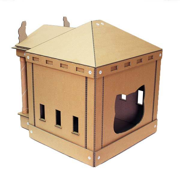 Silky Paws Roman Temple Cardboard Cat House