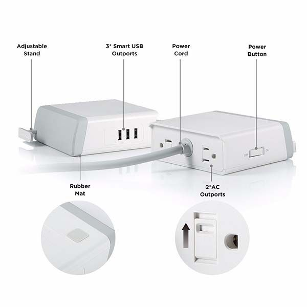 EasyAcc Charging Station with 3 USB Ports and Surge Protector