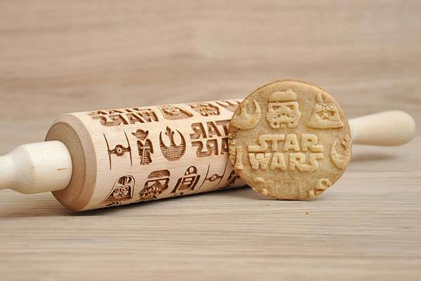 Handmade Star Wars Rolling Pin with Engraved Patterns
