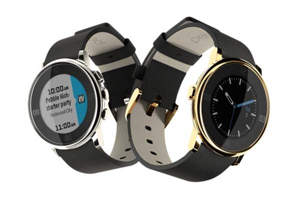 Pebble Time Round Special Edition Smartwatch in Polished Gold and Silver Finishes