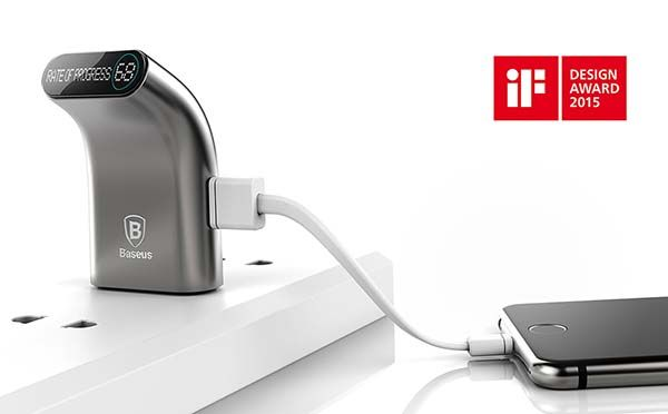 Smarter USB Wall Charger with Integrated Phone Holder and LED Display