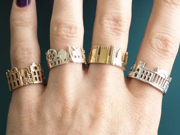3D Printed Cityscape Sterling Silver Rings
