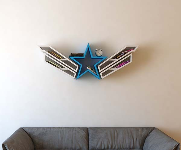 Concept Bookshelves Inspired by Captain America, Wonder Woman and SHIELD