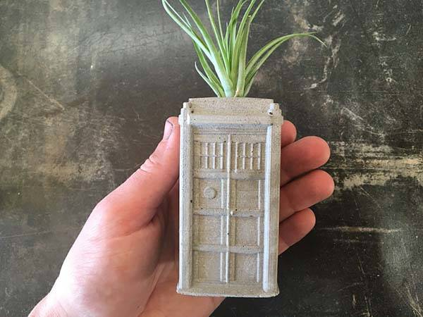 Handmade Doctor Who TARDIS Concrete Planter