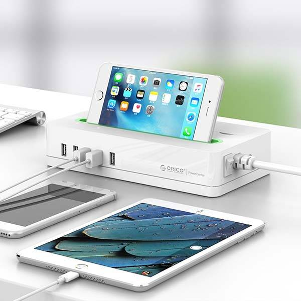 Orico Surge Protector with an Integrated Phone Holder