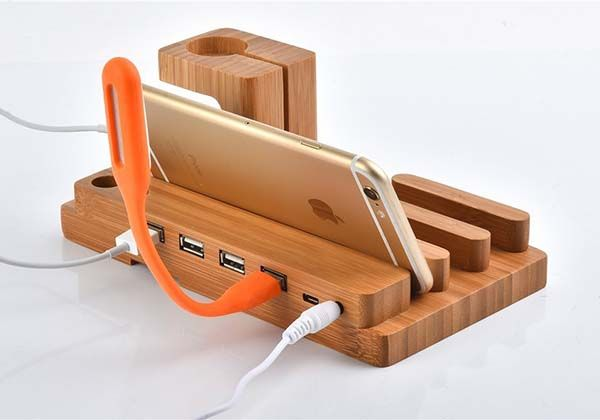 The Wooden Charging Station with Apple Watch Stand