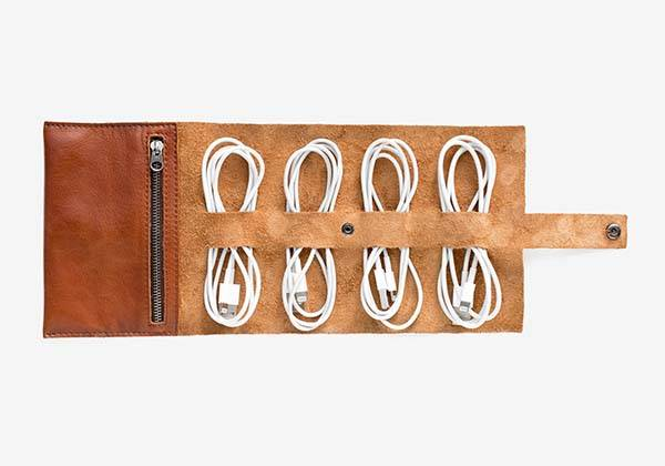 This is Ground Cordito Leather Cord & Plug Rollup Organizer