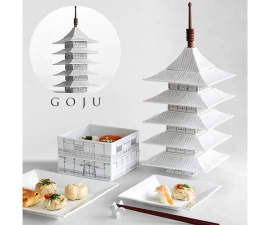 Handmade Goju Kyoto Pagoda Dinnerware
